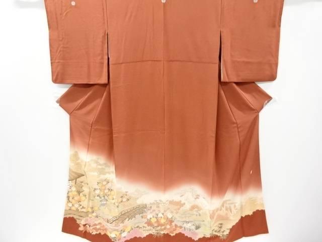 作家物 屋敷に橋・松菊楓模様刺繍三つ紋色留袖(比翼付き)【リサイクル】【中古】