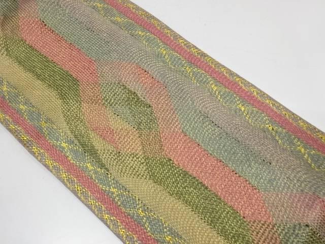 組織縞に抽象模様全通袋帯【リサイクル】【中古】