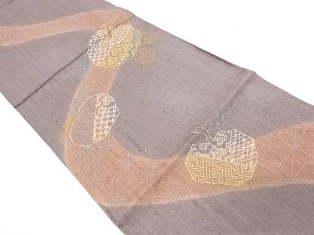 手織り紬刺子流水にりんご・草花模様袋帯【リサイクル】【中古】