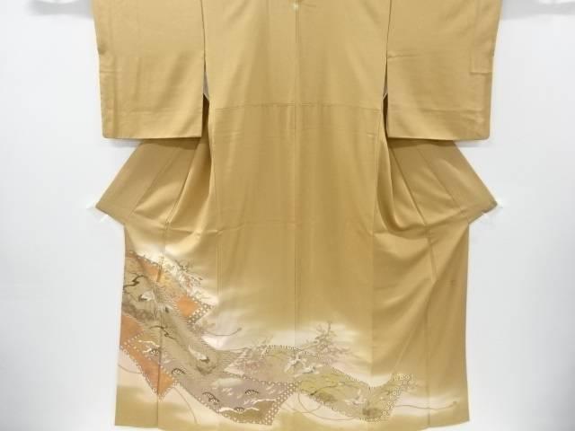 作家物 金彩巻物に草花鶴模様一つ紋色留袖【リサイクル】【中古】