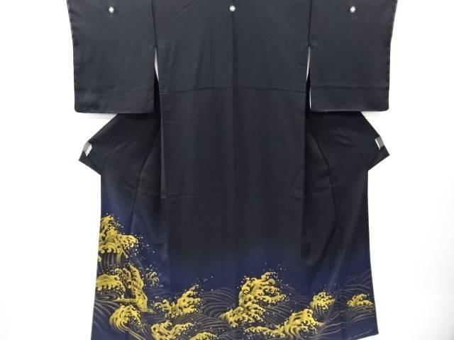 未使用品 仕立て上がり 金彩荒波模様刺繍留袖