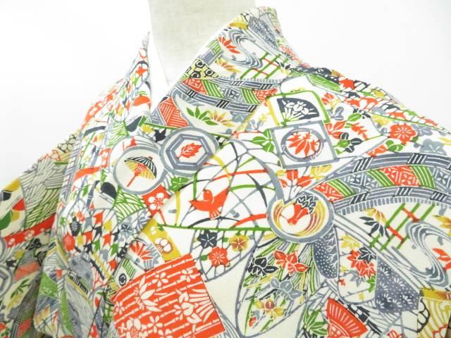 小紋 松と梅に古典柄 寄せ小紋 着物【リサイクル】【中古】