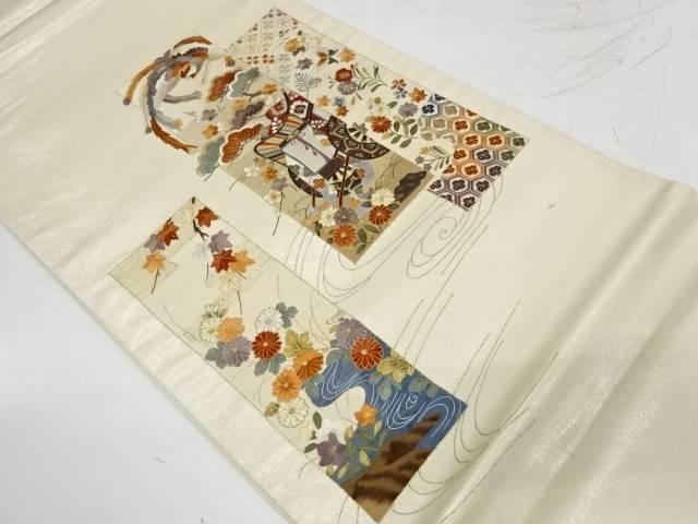 蘇州刺繍短冊に御所車・花鳥模様袋帯【リサイクル】【中古】