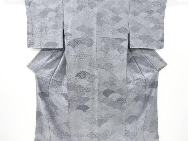 未使用品 仕立て上がり 墨染め 青海波に古典柄模様織り出し付け下げ小紋着物