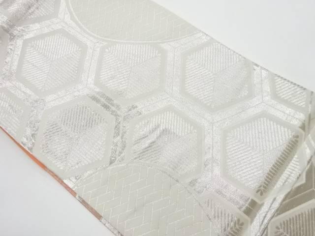亀甲に若松・檜垣模様織出しリバーシブル全通袋帯【リサイクル】【中古】