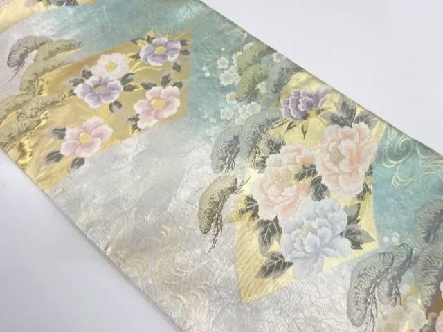 地紙に松・草花模様織出し袋帯【リサイクル】【中古】
