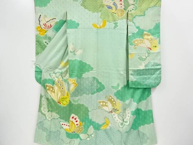 金彩絞り蝶に花模様刺繍振袖【アンティーク】【中古】