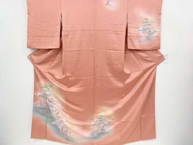 群鶴に桜・松模様訪問着【リサイクル】【中古】