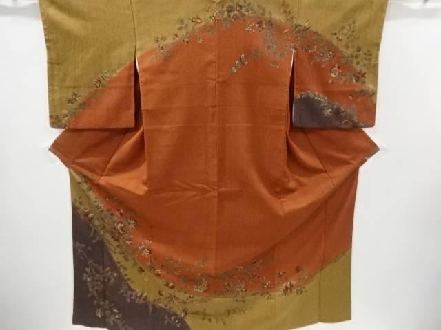 ふくれ織 手描き抽象花模様訪問着【リサイクル】【中古】
