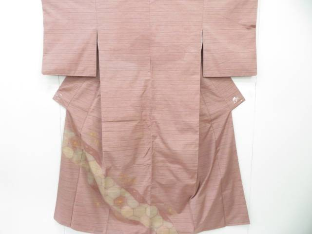 付下げ 紬織 汕頭刺繍 横段に亀甲に花文 着物【リサイクル】【中古】