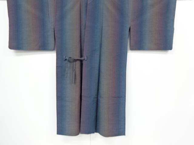 縞織り出し暈し手織り節紬ロング道中着【リサイクル】【中古】