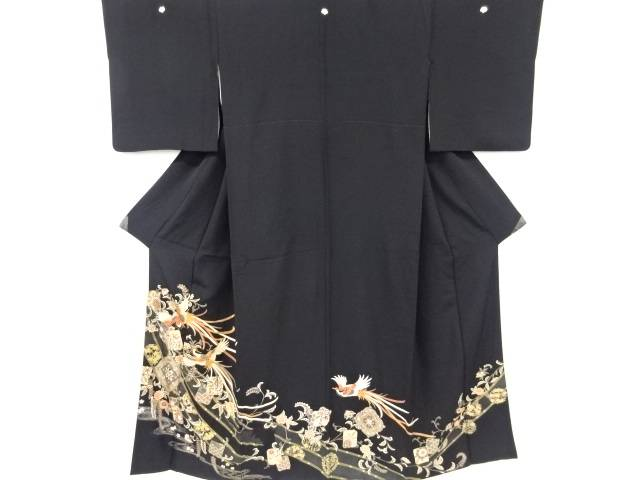 鳳凰に御簾・草花模様刺繍留袖(比翼付き)【リサイクル】【中古】