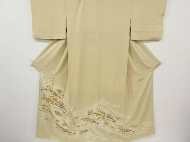 扇面に花唐草模様刺繍一つ紋色留袖(比翼付き)【リサイクル】【中古】