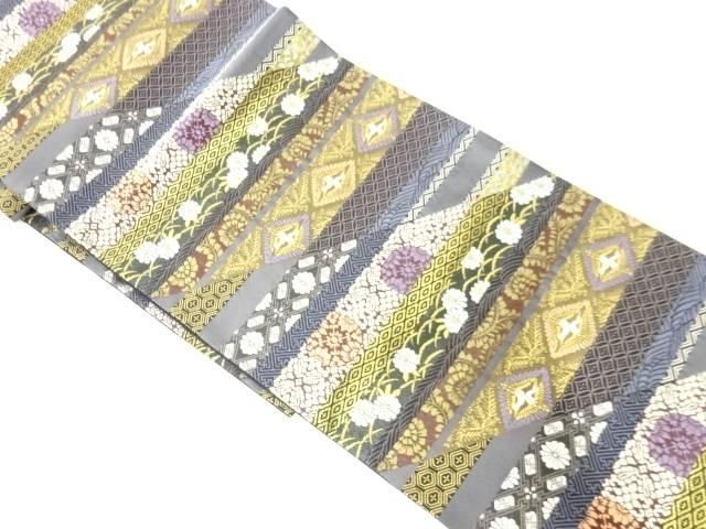 草花に古典柄模様織出し袋帯【リサイクル】【中古】