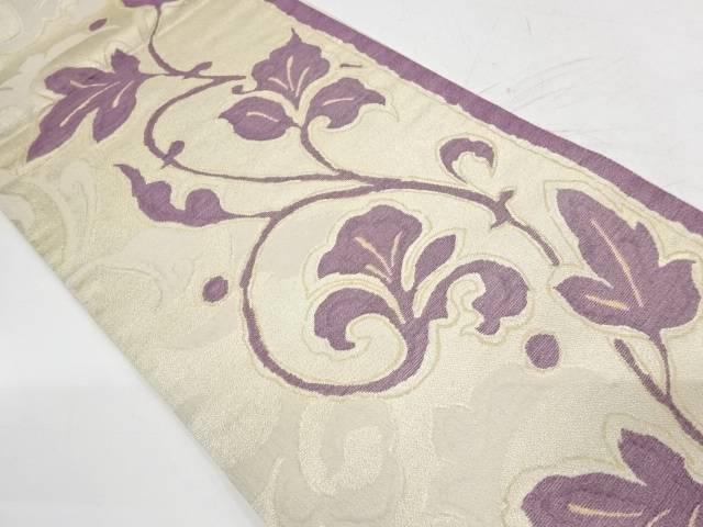 帝王紫ムガール唐草模様織出し袋帯【リサイクル】【中古】