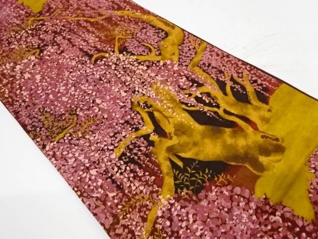 枝垂れ桜模様全通袋帯【リサイクル】【中古】