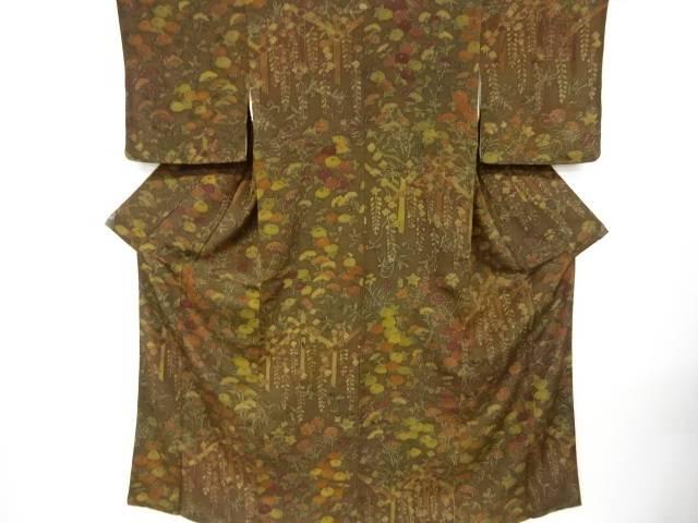 別倉庫からの配送 合計3980円以上の購入で送料無料 正規品 万寿菊に女郎花藤模様一つ紋付け下げ小紋着物 中古 リサイクル