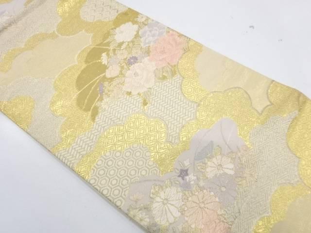 本金箔二重織雲取りに草花模様織出し袋帯【リサイクル】【中古】