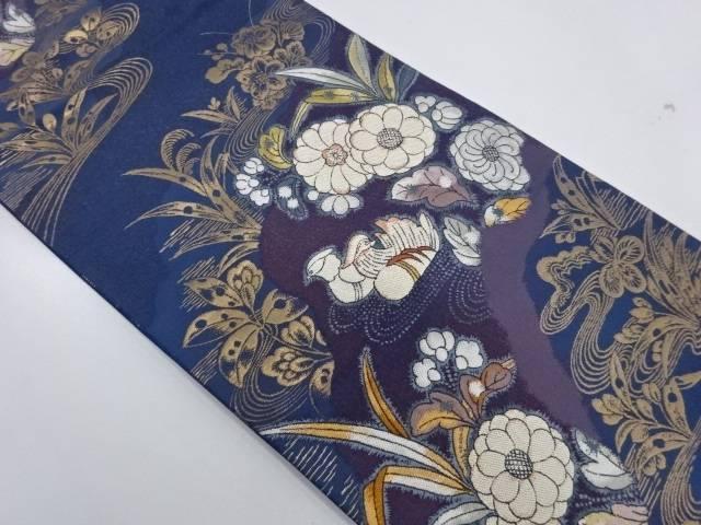 鴛鴦に草花模様織出し袋帯【リサイクル】【中古】