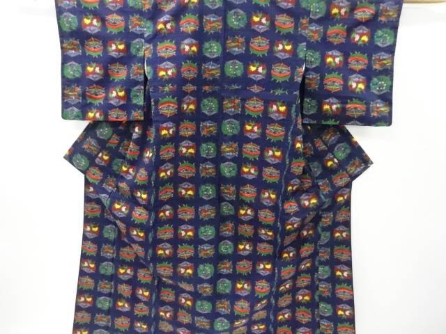 糸巻きに草花模様織り出し手織り真綿紬着物【リサイクル】【中古】