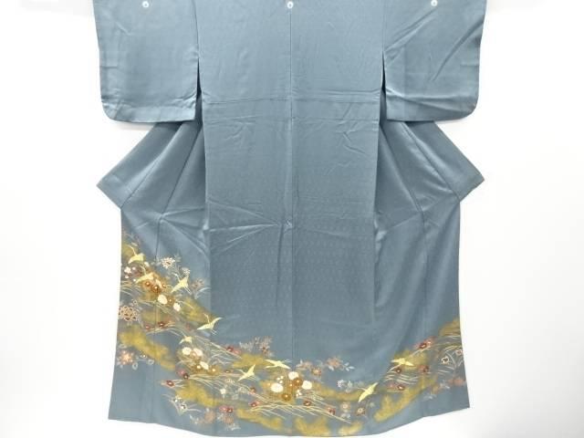 金彩 花舟に群鶴模様刺繍三つ紋色留袖(比翼衿付き)【リサイクル】【中古】