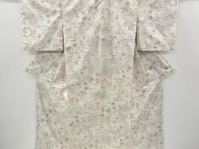 合計3980円以上の購入で送料無料 屋敷に菊 松模様織り出し手織り真綿紬着物 リサイクル 中古 再入荷 予約販売 超特価