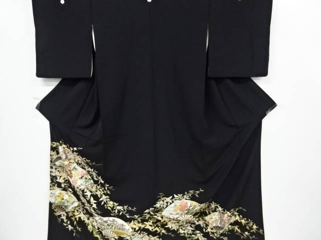 扇面に牡丹・草花模様刺繍留袖(比翼付き)【リサイクル】【中古】
