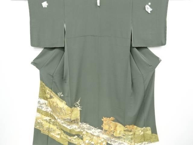 未使用品 蘇州刺繍枝梅に草花模様五つ紋色留袖(比翼付き)【リサイクル】【中古】