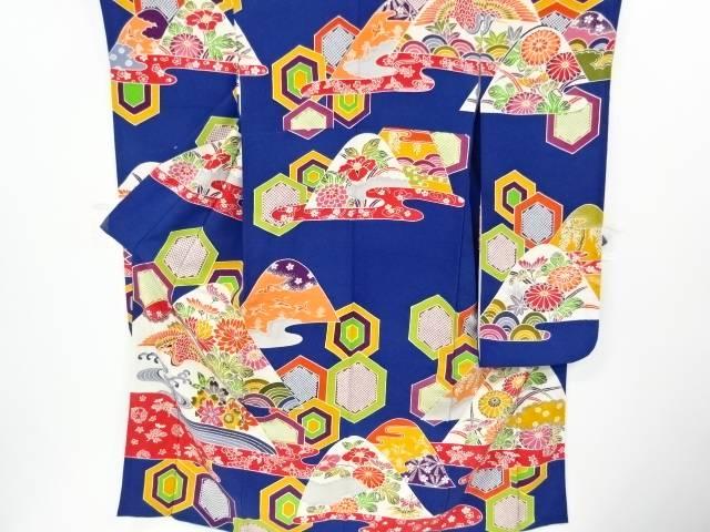 京紅型 鶴に花模様振袖【リサイクル】【中古】