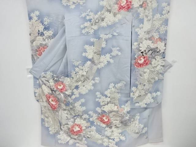 牡丹に菊模様刺繍振袖【リサイクル】【中古】