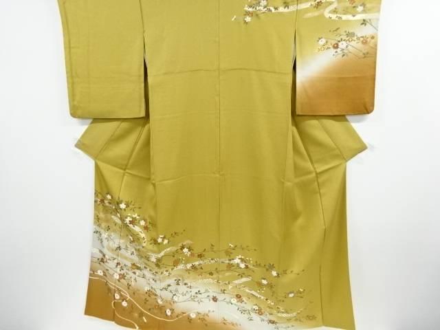 金彩熨斗に菊・桜模様刺繍訪問着【リサイクル】【中古】