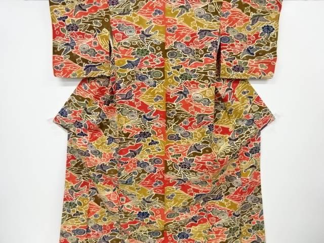 型絵染蝶模様手織り真綿紬着物【リサイクル】【中古】