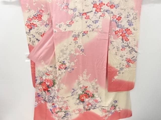 枝梅に花車模様刺繍振袖・袋帯セット(重ね衿付き)【リサイクル】【中古】