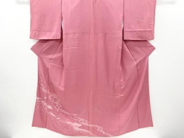 合計3980円以上の購入で送料無料 格安 期間限定で特別価格 絞り流水に松菊模様刺繍訪問着 リサイクル 中古