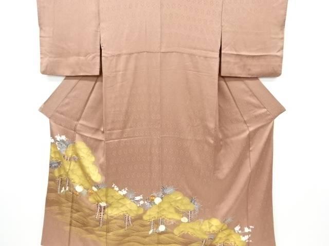 合計3980円以上の購入で送料無料 5☆好評 金彩松に藤 菊模様刺繍一つ紋色留袖 激安セール 中古 リサイクル