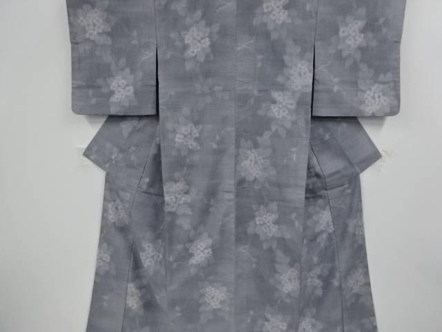 花模様織り出し手織り真綿紬着物【リサイクル】【中古】