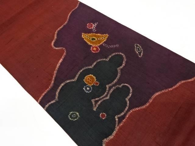 合計3980円以上の購入で送料無料 手織り紬絞り雲取りに抽象花模様袋帯 安い 激安 プチプラ 高品質 中古 半額 リサイクル
