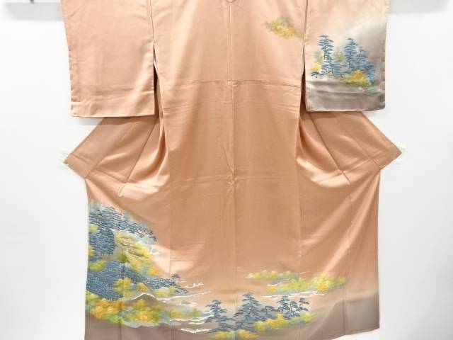 合計3980円以上の購入で送料無料 世界の人気ブランド 販売 未使用品 箔置き リサイクル 寺院に松模様訪問着 中古