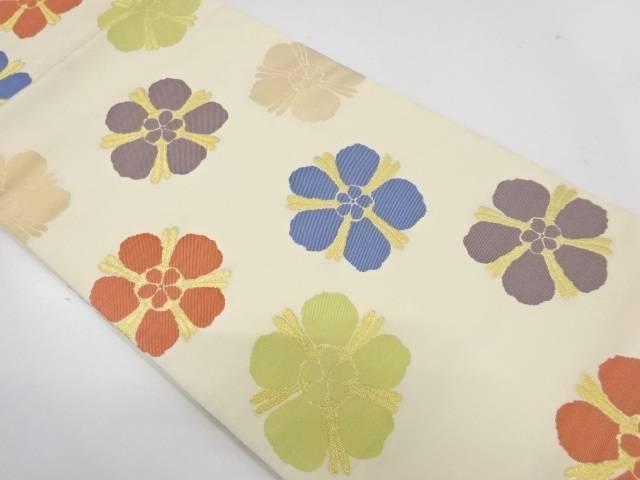 合計3980円以上の購入で送料無料 花模様織出し全通袋帯 リサイクル デポー 中古 ハイクオリティ