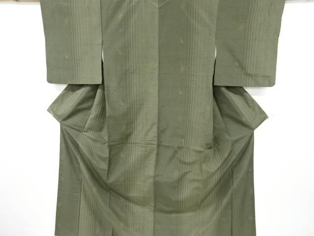 合計3980円以上の購入で送料無料 縞に木の葉模様織り出し節紬着物 リサイクル 新色 中古 大人気