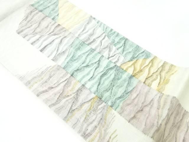 合計3980円以上の購入で送料無料 紗 お見舞い すくい織抽象模様織出し袋帯 リサイクル 中古 再再販