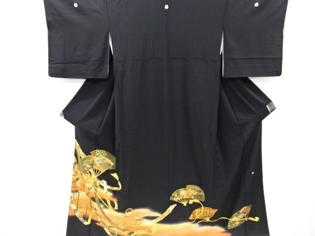 合計3980円以上の購入で送料無料 作家物 店舗 金彩扇に松梅模様刺繍留袖 比翼付き リサイクル 中古 送料込