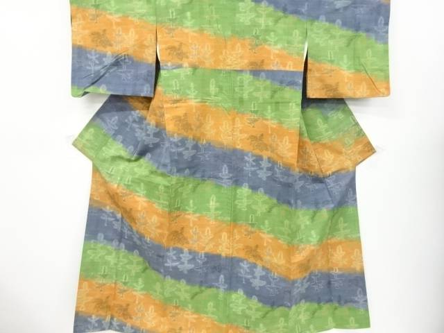 出荷 合計3980円以上の購入で送料無料 即納 抽象花模様織り出し手織り節紬着物 リサイクル 中古