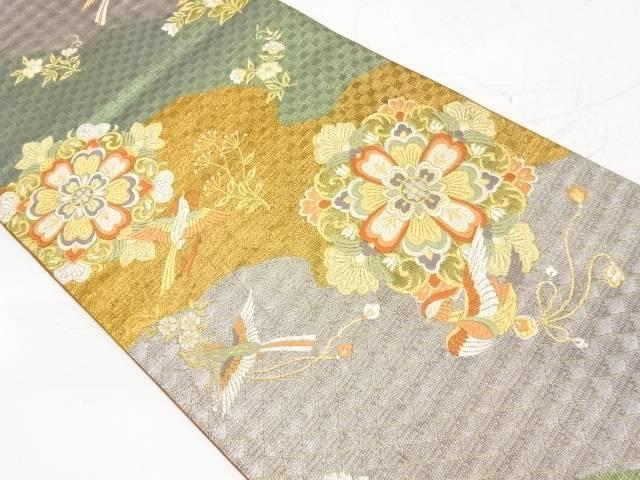 合計3980円以上の購入で送料無料 毎日がバーゲンセール 華紋に花鳥模様織出し袋帯 直営ストア リサイクル 中古