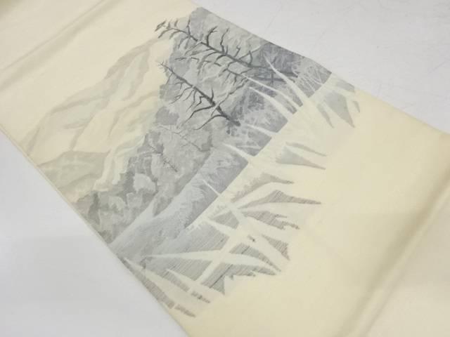 合計3980円以上の購入で送料無料 春の新作続々 山並みに樹木風景模様織出し袋帯 中古 リサイクル ギフ_包装