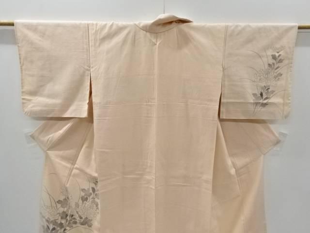 合計3980円以上の購入で送料無料 手描き菊模様手織り真綿紬単衣訪問着 中古 メーカー直売 商舗 リサイクル