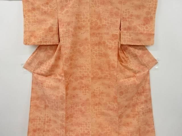 合計3980円以上の購入で送料無料 物品 菊唐草模様手織り紬単衣着物 中古 セール品 リサイクル