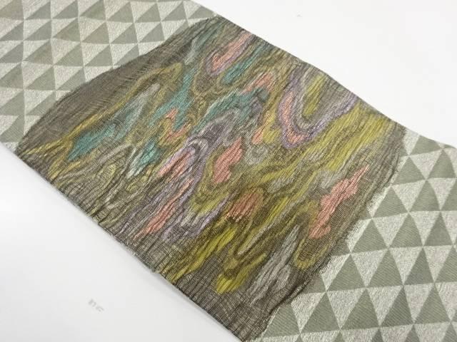 合計3980円以上の購入で送料無料 すくい織霞模様織出し袋帯 受注生産品 リサイクル 供え 中古