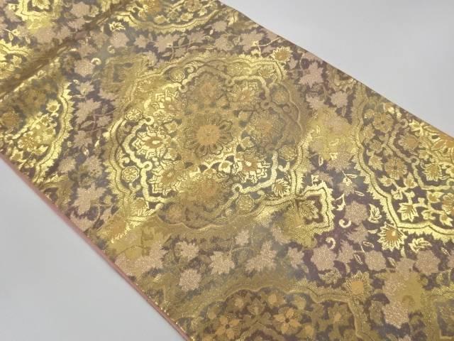 正規認証品 新規格 合計3980円以上の購入で送料無料 服部織物製 特価 イタリア更紗本金箔24K華紋模様織出し袋帯 中古 リサイクル