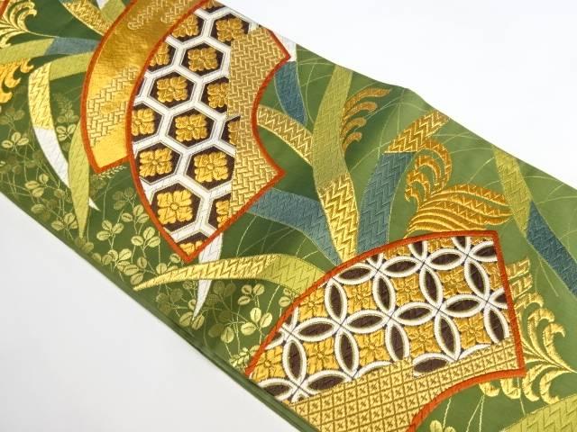 合計3980円以上の購入で送料無料 未使用品 唐織扇に亀甲菱花模様織り出し袋帯 中古 25%OFF 新作多数 リサイクル